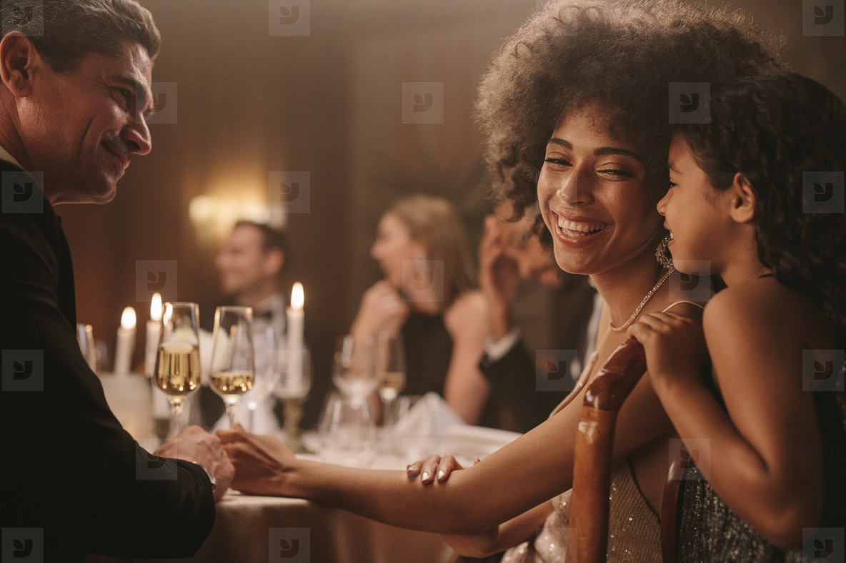 Family at gala party