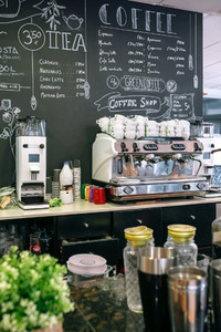Empty cafe interior with coffee maker