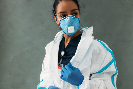 Female nurse zip up suit