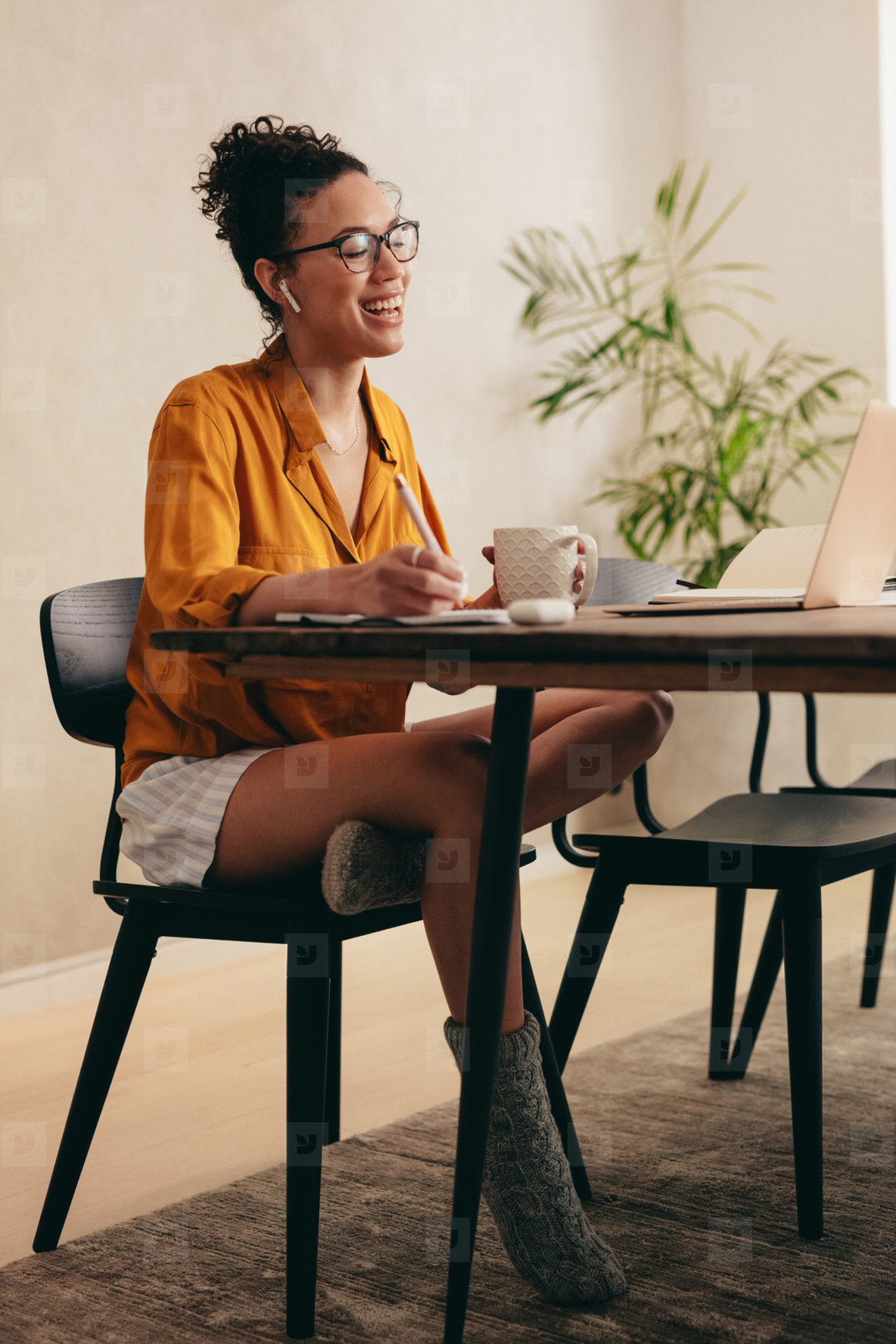 Woman in teleconference meeting