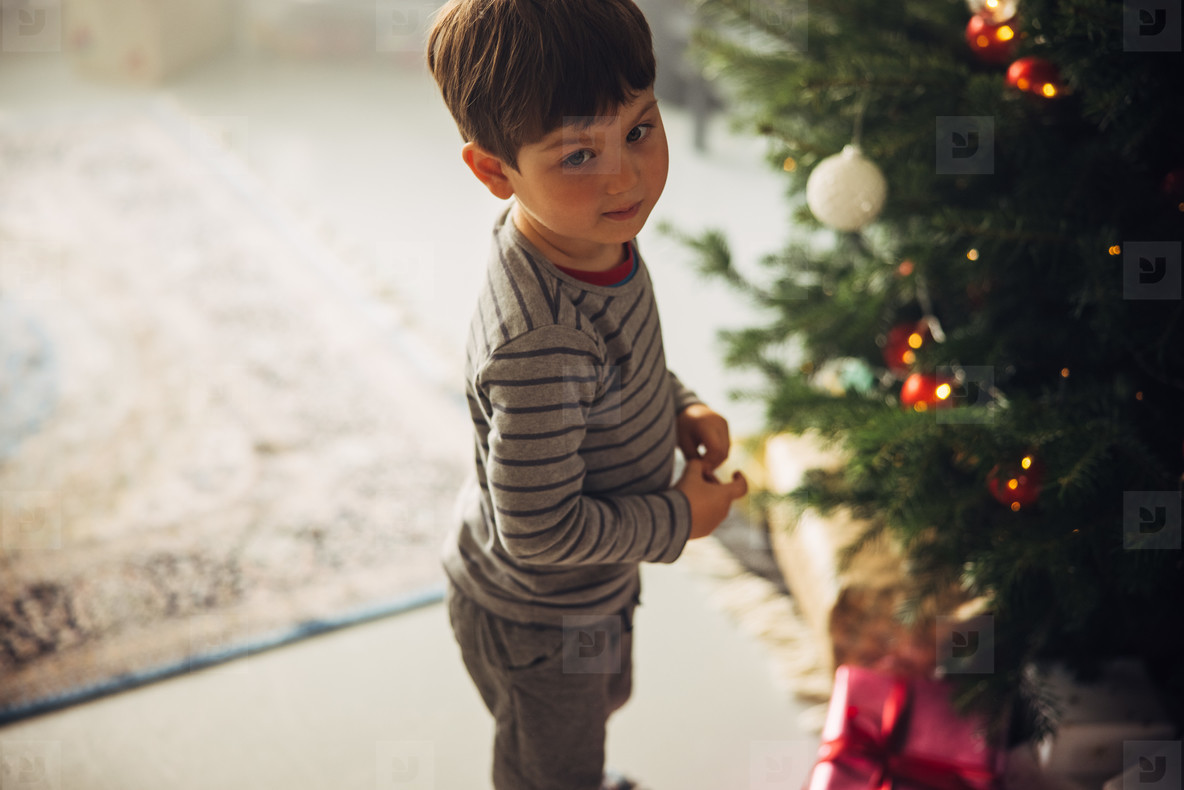 Boy standing by Christmas tree