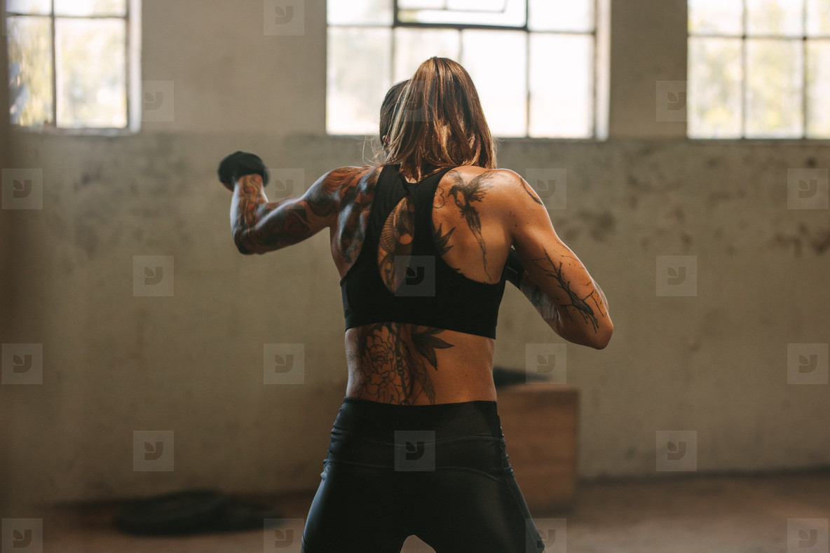 Woman doing shadow boxing workout