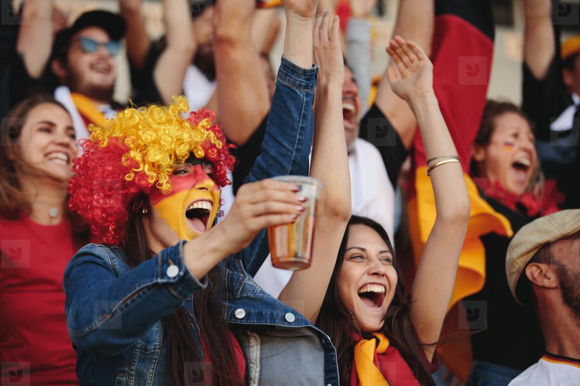 Excited German fans celebrating their teams victory