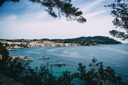 Landscape of the sea and a seaside village framed by some vegetation