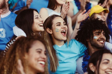 Argentinian soccer fans watching the game at stadium