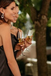 Socialites at outdoor party