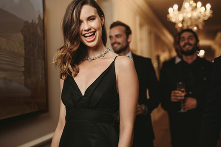 Woman at a gala night with friends