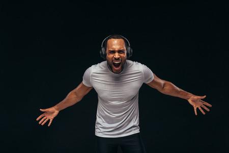 Muscular man shouting