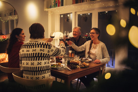 Family toasting wine at Christmas dinner