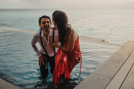 Romantic couple on honeymoon vacation at a sea resort