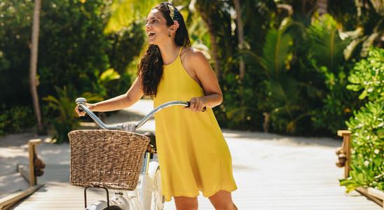 Woman enjoying a bicycle ride