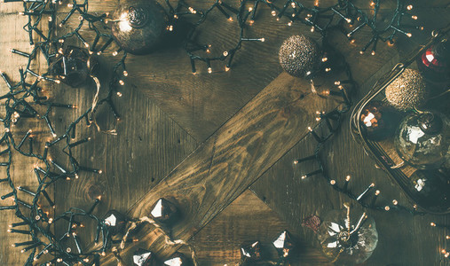Christmas  New Year background  Holiday preparation flat lay  wide composition
