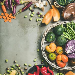 Healthy vegetarian seasonal Fall food cooking background  square crop