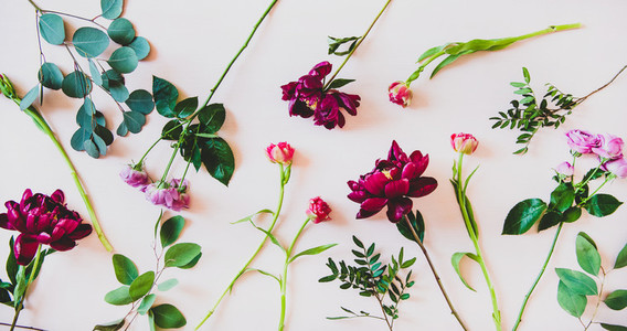 Flat lay of various summer flowers over pink background