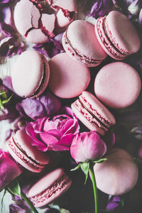 Sweet pink macaron cookies and rose flowers  buds and petals