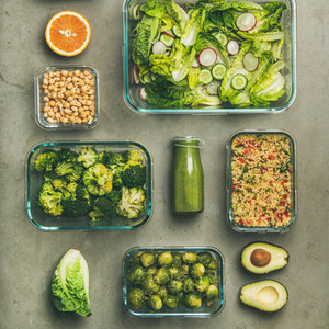 Healthy vegan dishes and juice on concrete background  square crop