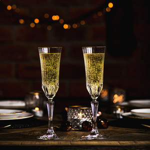 Christmas  New year celebration table set with champagne  square crop