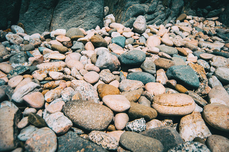 Close up of a pile of pebbles on the ground