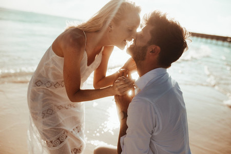 Romantic moments on a beach holiday