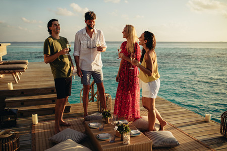 Friends on a luxury holiday at a sea resort