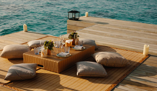 Luxury dining at an overwater deck