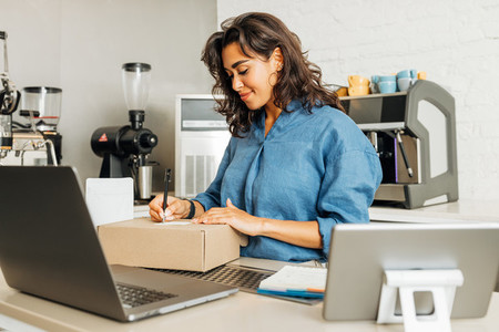 Smiling entrepreneur woman