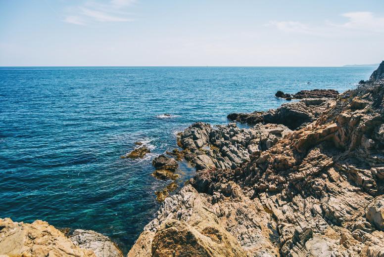 Seascape of a steep rocky coast