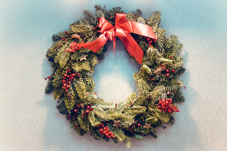 Christmas wreath of fir branches