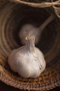 Close up garlic bulb in basket
