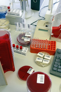 Barcoded scientific equipment in laboratory
