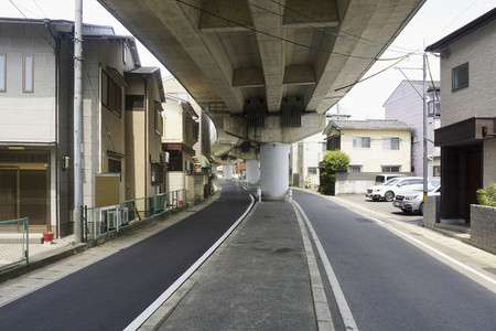Overpass and street splitting urban neighborhood