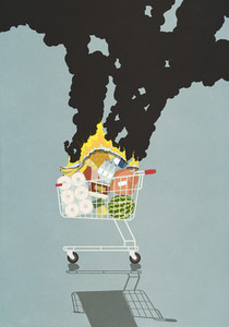 Groceries burning in shopping cart