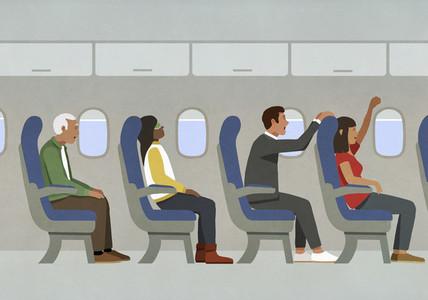 People cheering on airplane