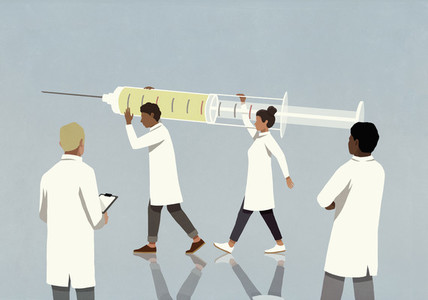 Doctors carrying large COVID vaccine syringe