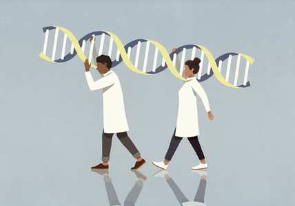 Scientists in lab coats carrying large double helix