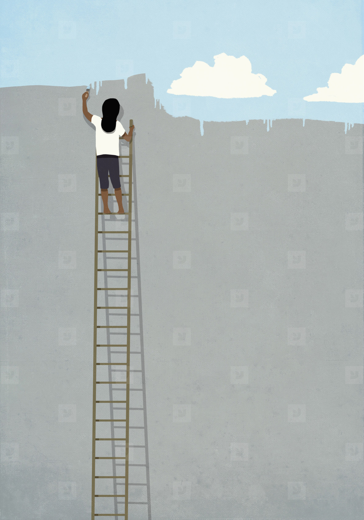 Woman on ladder painting blue sky over gray wall