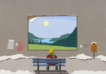 Man on urban winter bench looking at sunny rural billboard
