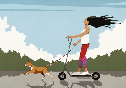 Carefree woman riding electric scooter with running dog
