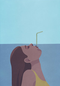 Woman underwater breathing through straw