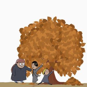 Kashmiri family playing under autumn tree