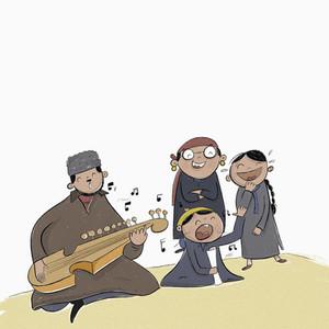 Family playing rubab and singing