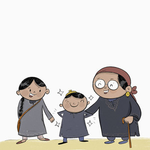 Happy Kashmiri family in pherans