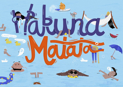 Playful Hakuna Matata sign over Kashmiri people swimming