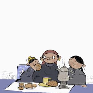 Kashmiri family enjoying fermented girda bread and tea
