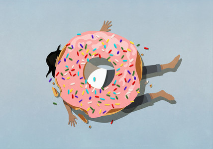 Large sprinkle donut crushing woman