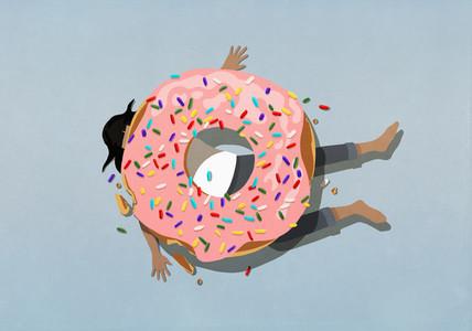 Large sprinkle donut crushing woman