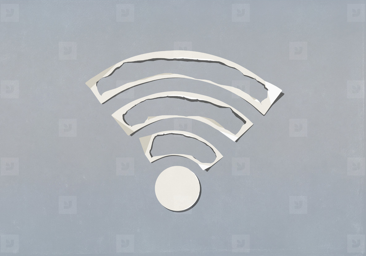 Paper cut outs forming wifi symbol