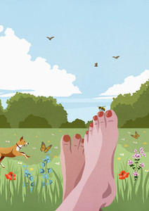 POV carefree barefoot woman relaxing in sunny idyllic spring meadow