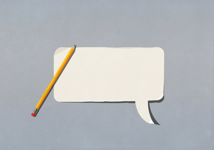 Pencil over blank speech bubble