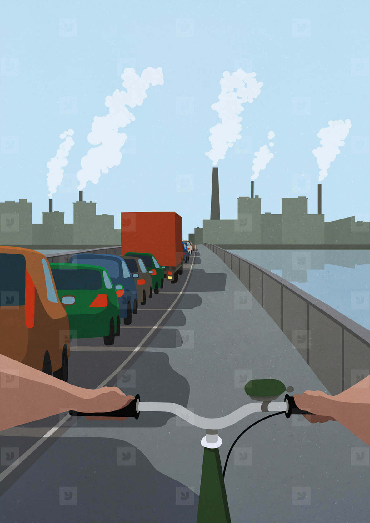 POV Bicycle in bike lane passing cars stuck in traffic jam on bridge